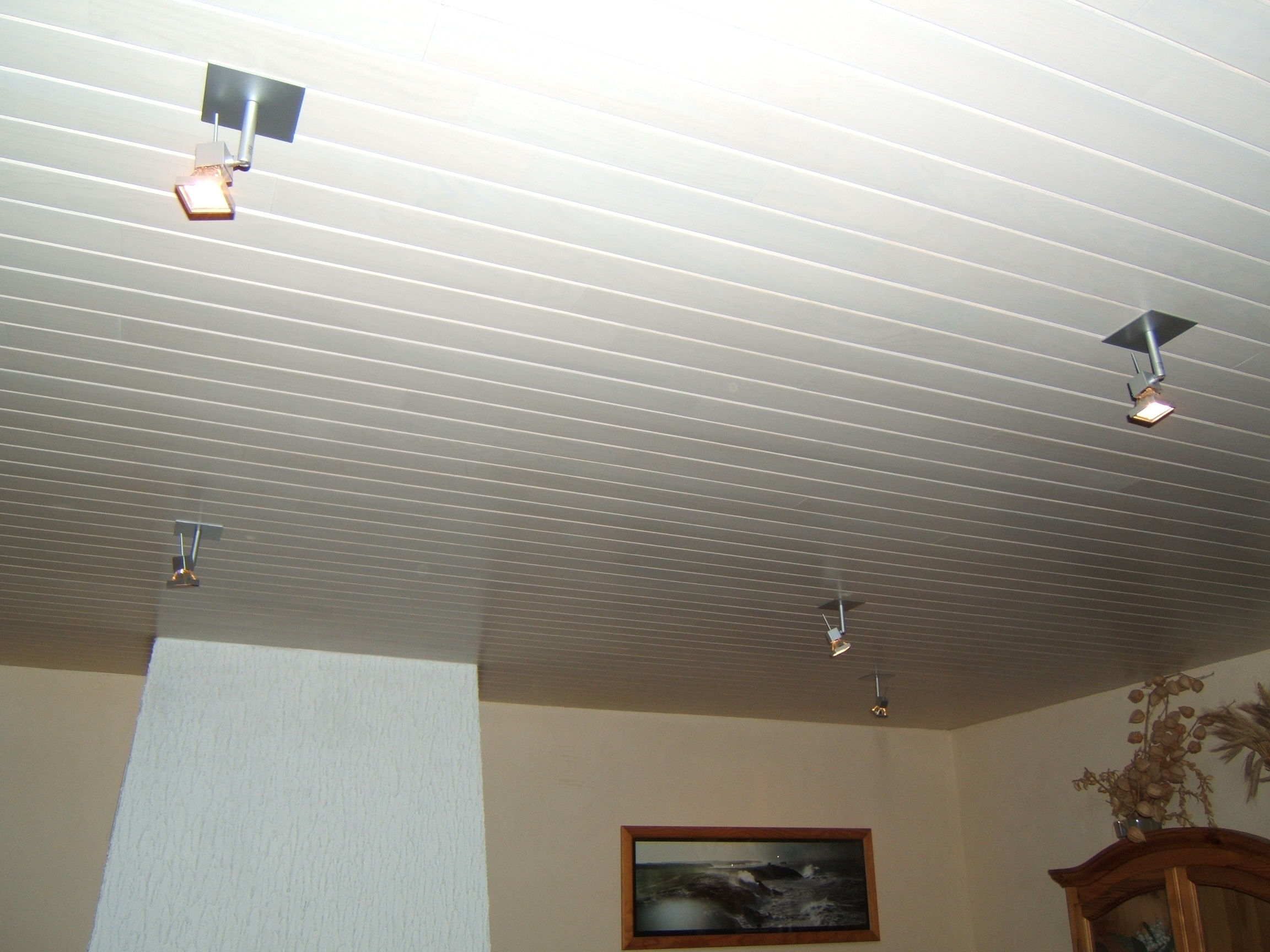 Pose de lambris pvc en soubassement pau estimation devis for Peindre plafond lambris